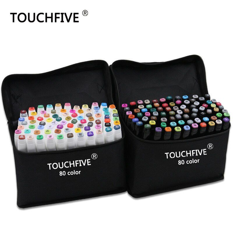 TouchFive Marker 30/40/60/80/168 <font><b>Colors</b></font> pen Brush pen Alcoholic Oily based ink Art Marker For Manga Dual Headed Sketch Markers