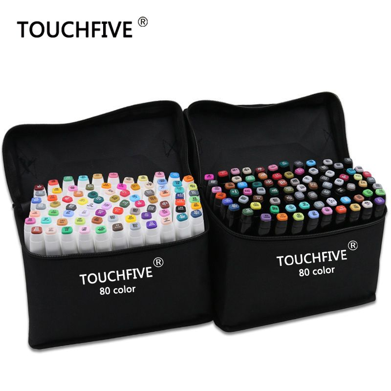 TouchFive Marker 30/40/60/80 Color Alcoholic oily based ink Art Marker Set Best For Manga Dual <font><b>Headed</b></font> Art Sketch Markers