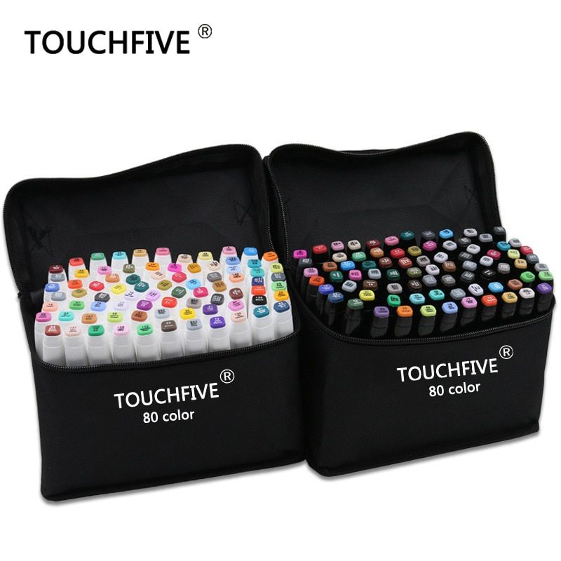 TouchFive Marker 30/40/60/80 Color Alcoholic oily based ink Art Marker Set Best For Manga Dual Headed Art Sketch Markers
