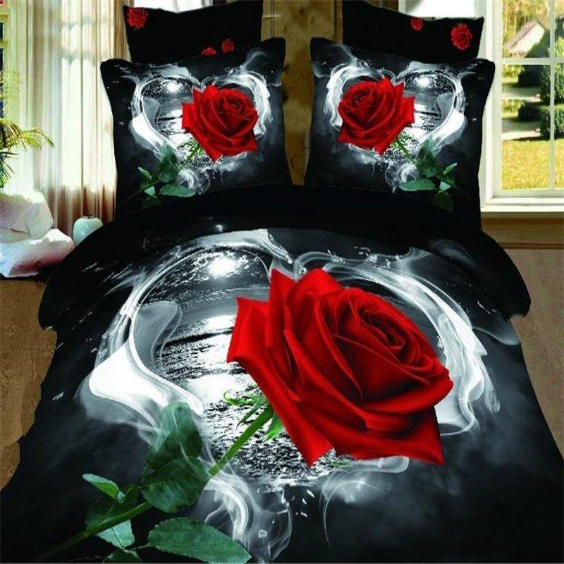 3D Red Rose bedding sets queen size 4pcs Floral doona black quilt/duvet cover bed linen bedclothes cotton home textile