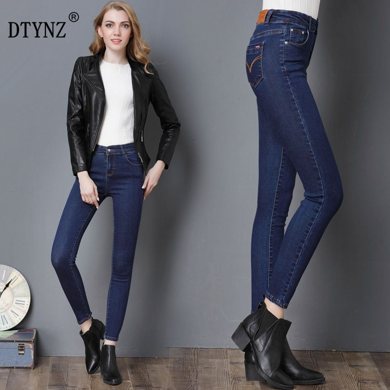 DTYNZ 2018 Plus large size jeans ladies black blue jeans high waist denim ladies pants high elastic tight pencil stretch ladies