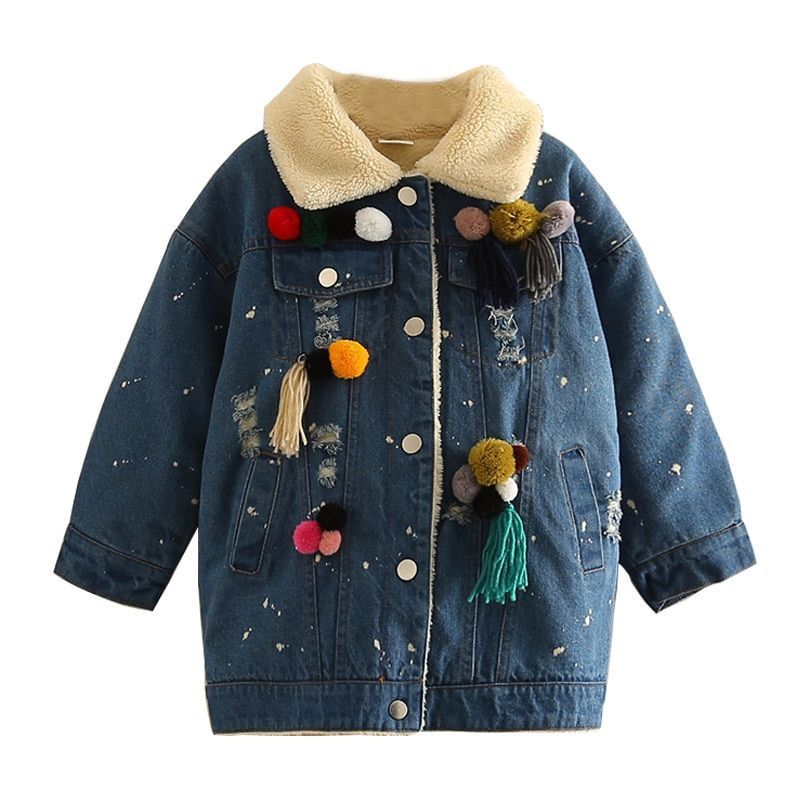 Kinder Jungen Mädchen Jeansjacke 2018 Dicke Warme Mode Kinder herrenbekleidung Mit Kapuze Jeansjacke Kinder Denim Jacke 3-10 T
