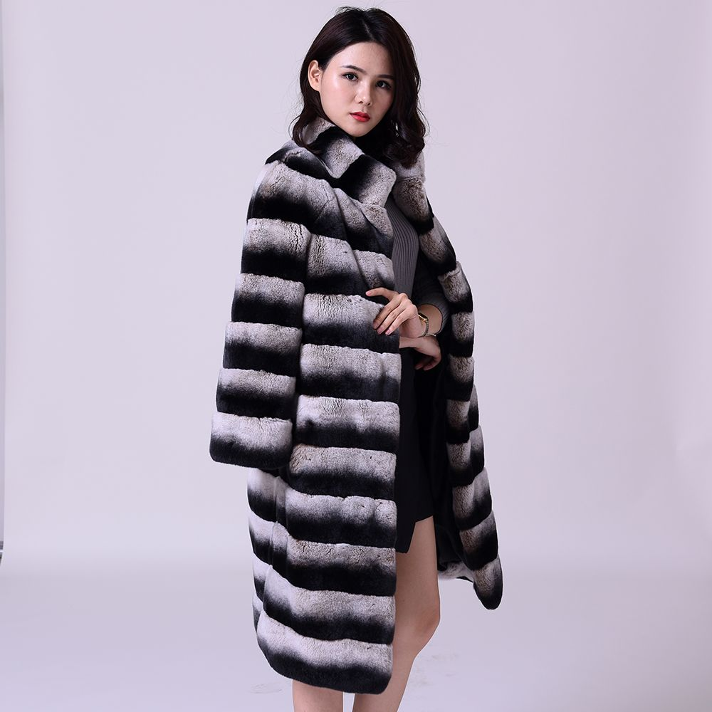 really Lexus Rex rabbit hair Fur coat woman Natural fur Horizontal stripes Thick and warm fur coat