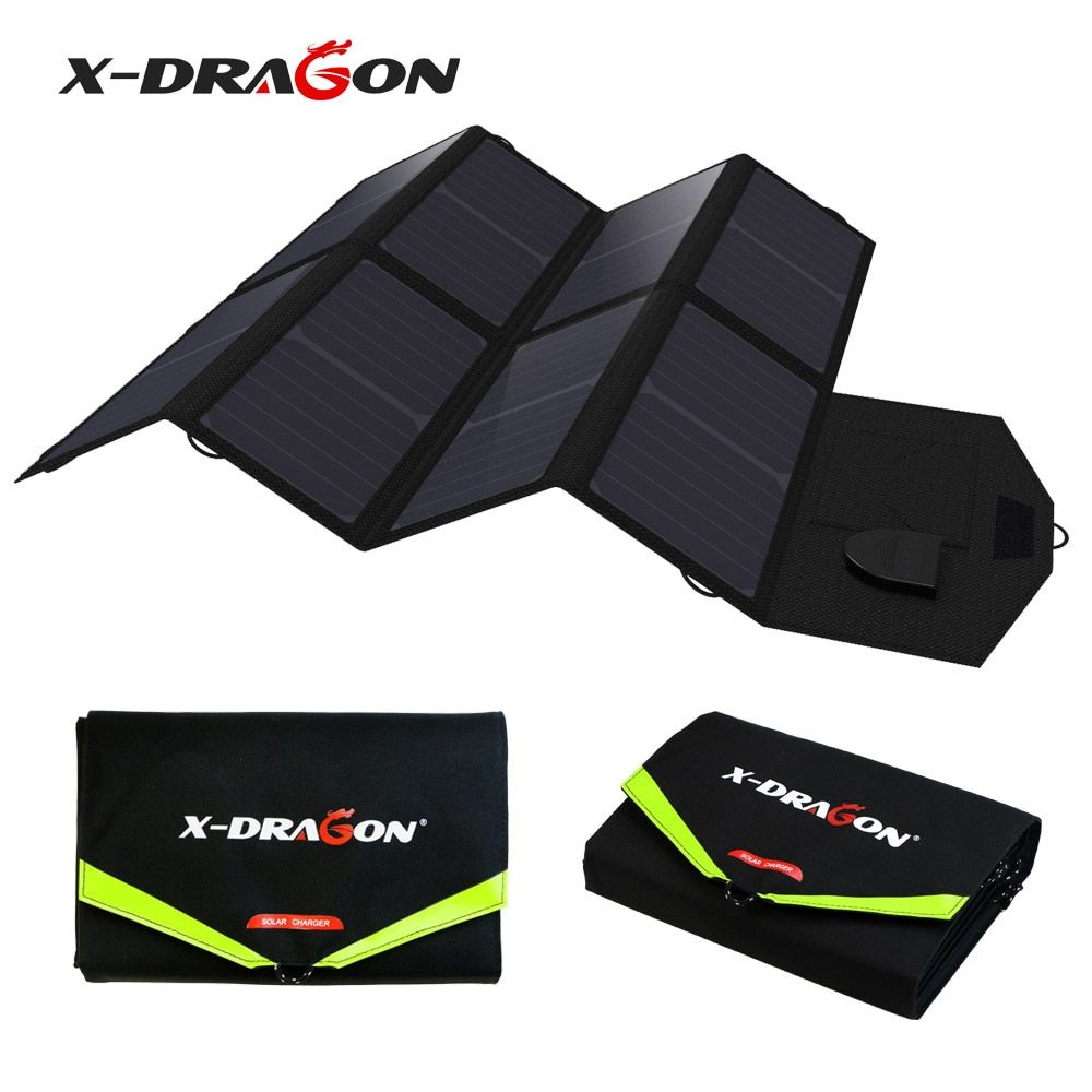 X-DRAGON 5V 12V 18V 40W Portable Solar Panel Charger Solar Charging for iPhone iPad Macbook Samsung HTC LG Sony HP Acer Lenovo.
