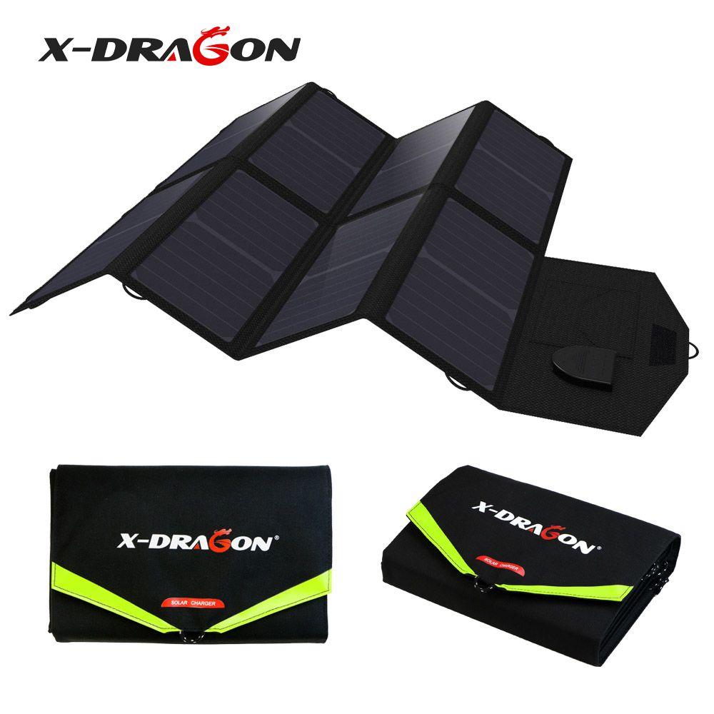 X-DRAGON 5V 12V 18V 40W Portable Solar Panel Charger Solar Charging for iPhone iPad Macbook Samsung HTC LG Sony HP Acer Lenovo.