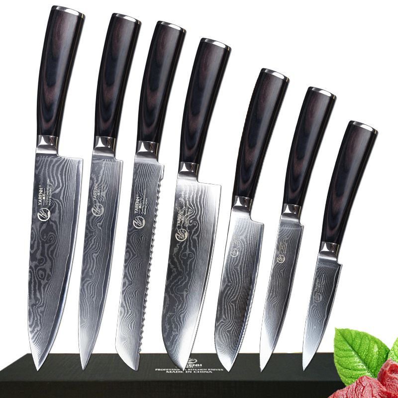 7 Pcs Damascus Steel Kitchen Knives Set Professional Chef Knife With Pakka Wood Handle Japanese VG10 Cooking Knives Sets