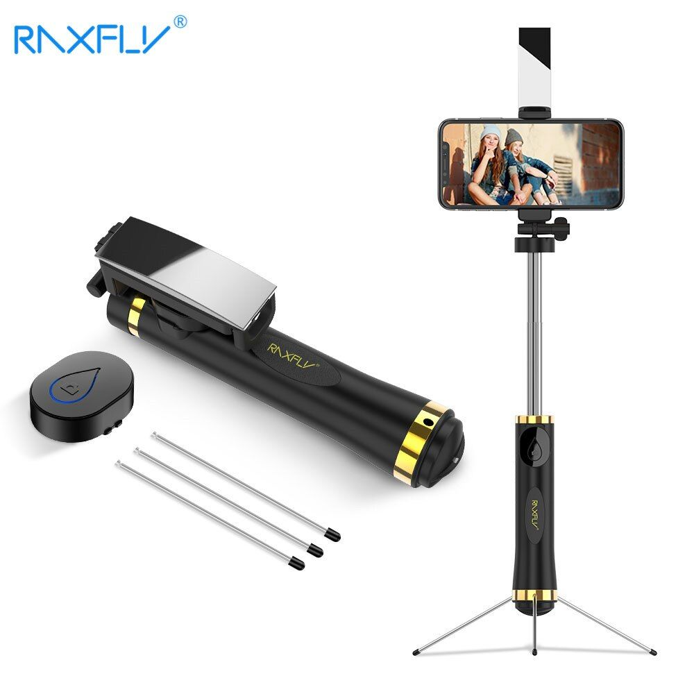 RAXFLY Wireless Bluetooth Selfie Stick For iPhone X 8 7 Handheld <font><b>Foldable</b></font> Tripod Mirror Remote For Xiaomi Selfie Stick