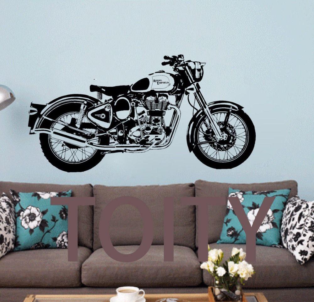 Royal Enfield Moto Mur Art Autocollant Classique Anglais Moto Decal Boy Chambre Sport Murale