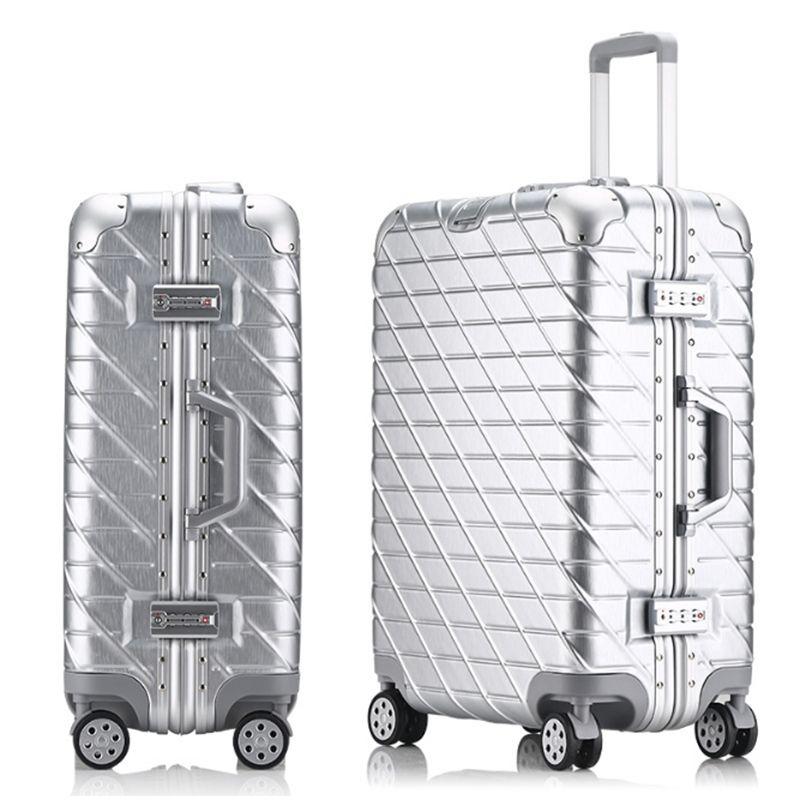 20'24'26'29' Vintage Aluminium Roll Gepäck Spinner Reise Koffer original gepäck Frauen Boarding-Box Tragen Auf Tasche Trolley