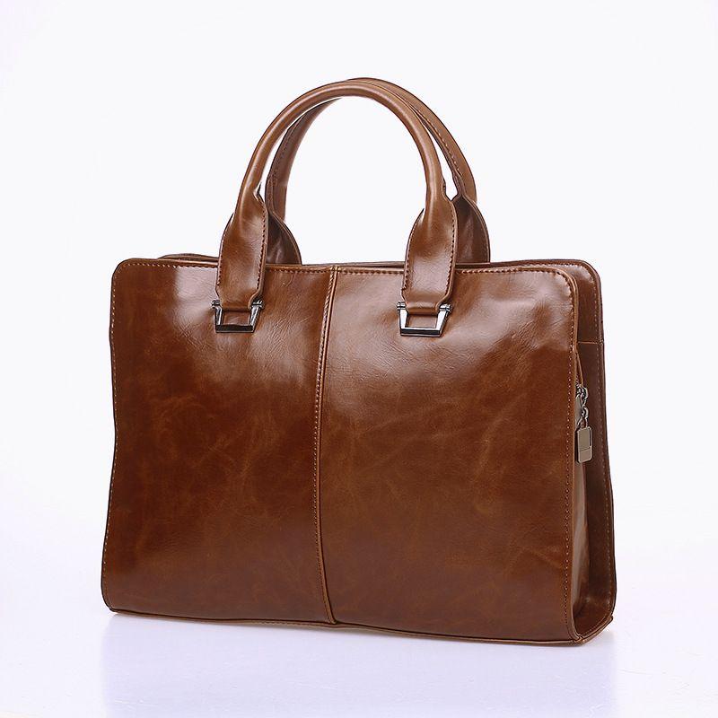 2019 Men Bag Business Briefcase PU Leather Fashion Vintage Office Top Selling Handbag Retro Style Document Portfolio Portable