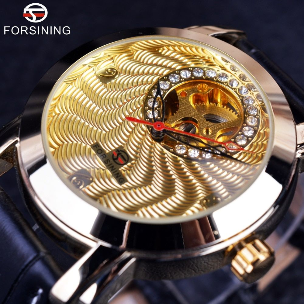 Forsining Golden Luxury Corrugated Designer Mens Watches Top Brand Automatic Luxury Small Dial Diamond Display Skeleton Watch