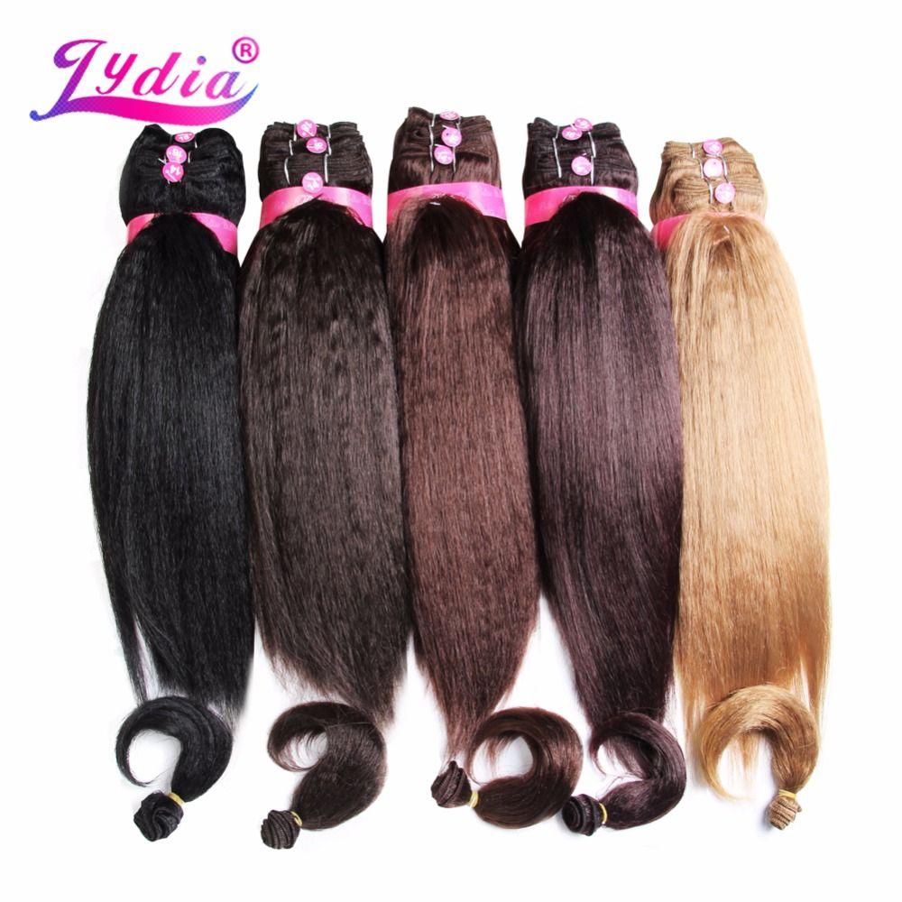 Lydia Pour Femmes Kinky Droite 5 PCS/Pack Synthétique Extension de Cheveux 14