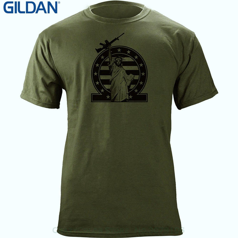 GILDAN Brand 2017 New T Shirt Man Cotton Vintage Molon Labe Pro 2a Statue Of Liberty Ar-15 M16 T-shirt