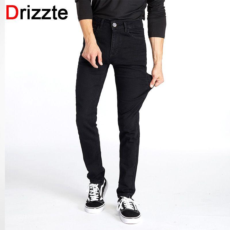 Drizzte Для мужчин Классические черные джинсы Stretch Slim Fit джинсовые плюс Размеры 36 38 40 42 44 Полный Длинные для Для мужчин жан