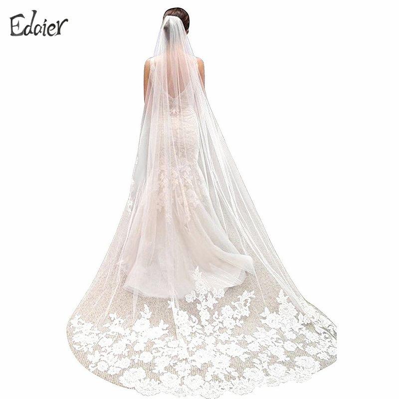 2017 White Ivory Long Wedding Veil Wedding Accessories Lace Edge Appliqued Tulle 3 meters Bridal Veils Velos De Novia