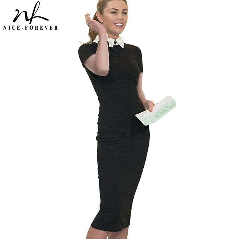 Nice-forever Career Women Autumn Turn-down Collar Fit Work Dress Vintage Elegant <font><b>Business</b></font> office Pencil bodycon Midi Dress 751