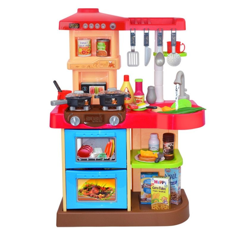New 2 Types 1 Sets 37 Pcs Kitchen Plastic Pretend <font><b>Play</b></font> Food Children Toys With Music And Light Height is about 72 cm Toys Gifts