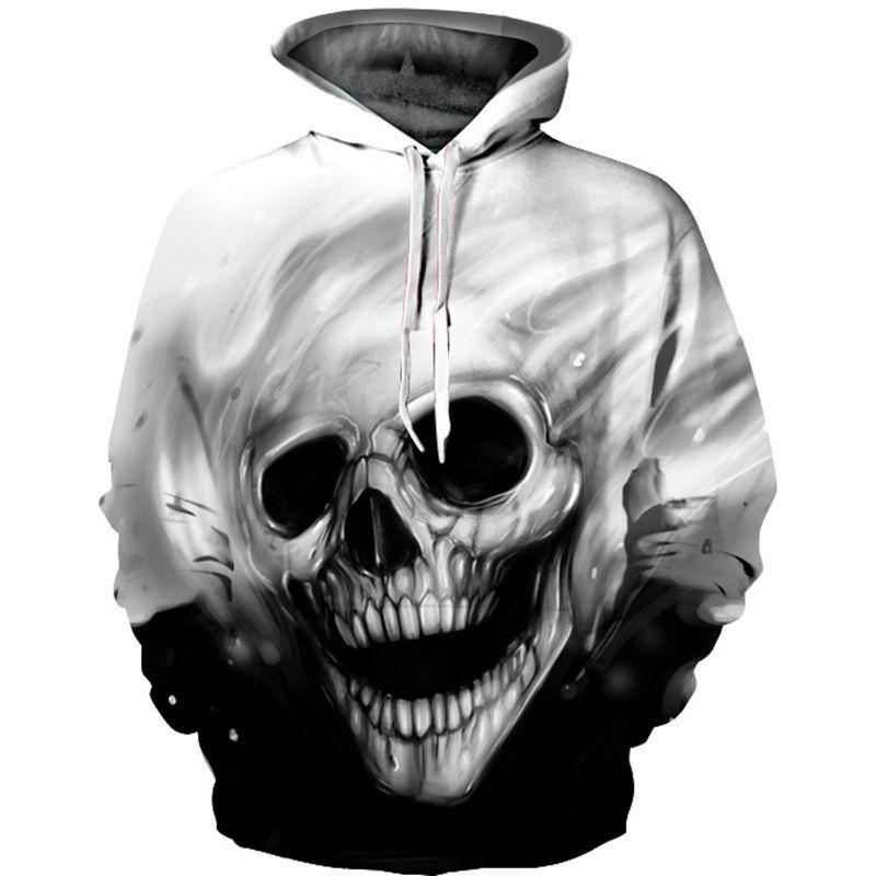 2017 3D Sudaderas Con Capucha de Los Hombres Con Capucha Sudaderas Derretida Cráneo 3D Print Jerseys Casual Tops Streetwear Otoño Inconformista Regulares