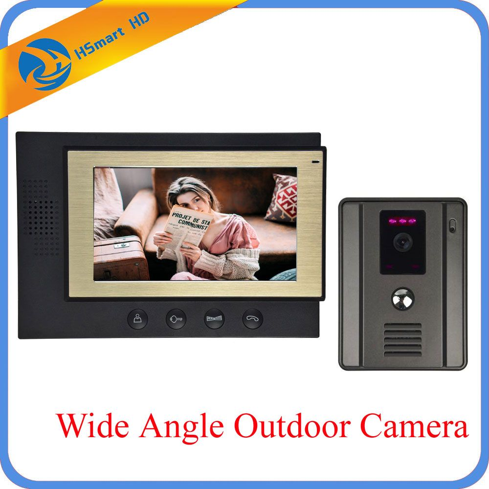 Home Security 7 inch Monitor Video Door phone Intercom System With Night Vision Outdoor Waterproof Camera Free Shipping