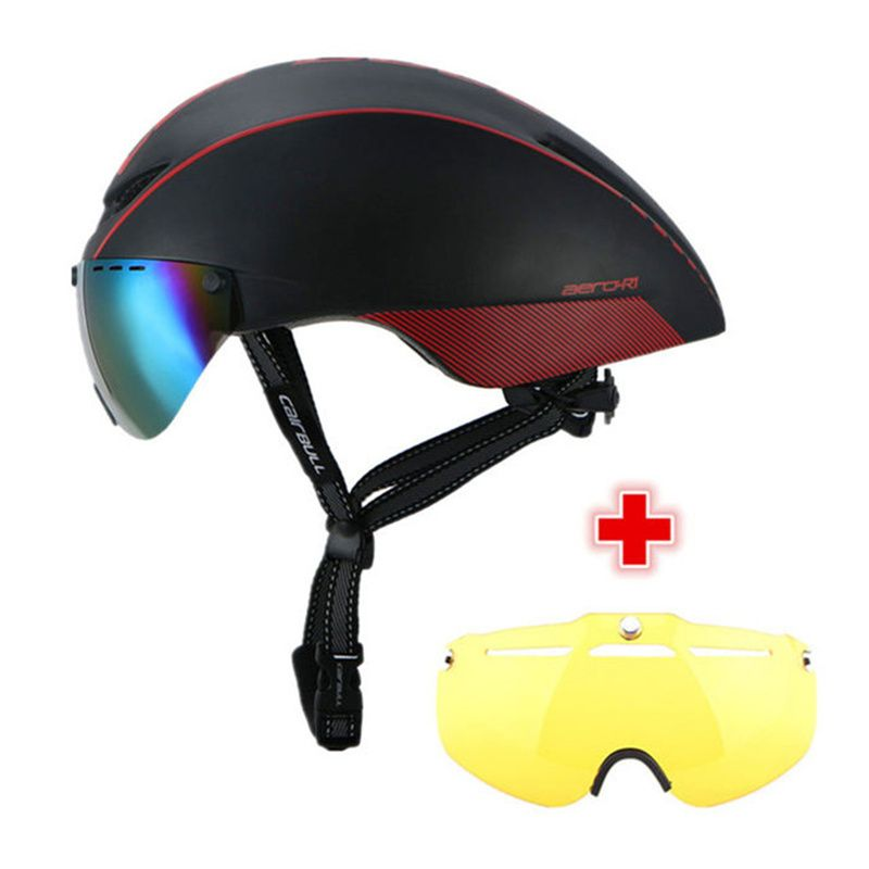 CAIRBULL 2 Lens AERO-R1 Cycling Helmet Racing Bike Safety Helmet With Magnetic Goggles Mountain Road <font><b>Pneumatic</b></font> TT Bicycle Helmet