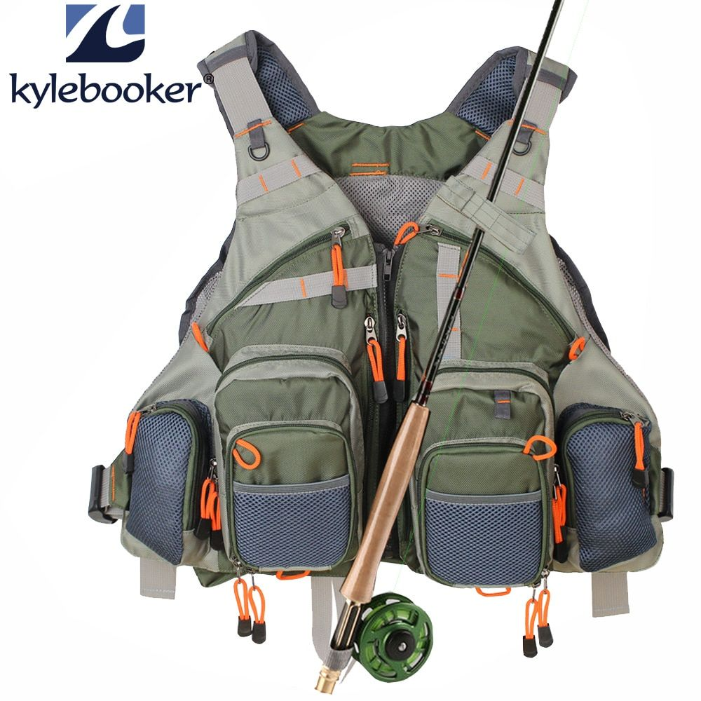 Nouveau Hommes vert armée de Mouche gilet de pêche Réglable En Plein Air vêtements de chasse Maille Gilet gilet de pêche matériel de pêche sac