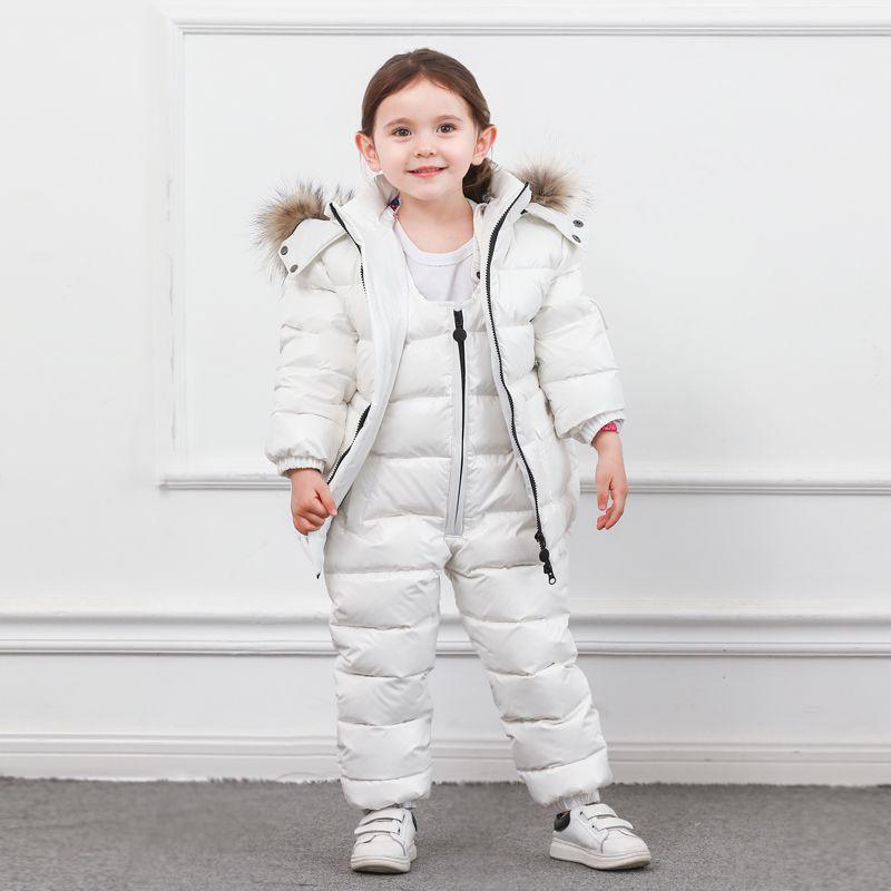 Hiver enfants bas costume longue fermeture éclair solide blanc canard vers le bas garçons filles vers le bas vestes épaississement veste + pantalon deux pièces vêtements