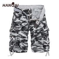 2018 New Camouflage Loose Cargo Shorts Men Cool Summer Military Camo Short Pants Hot Sale Homme Cargo Shorts No belt