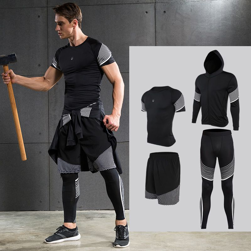 Men's Compression Running Suits Sports Set Four Equipments Shirt Jackets Shorts and Leggings for Joggers Gym Fitness Tights Sets