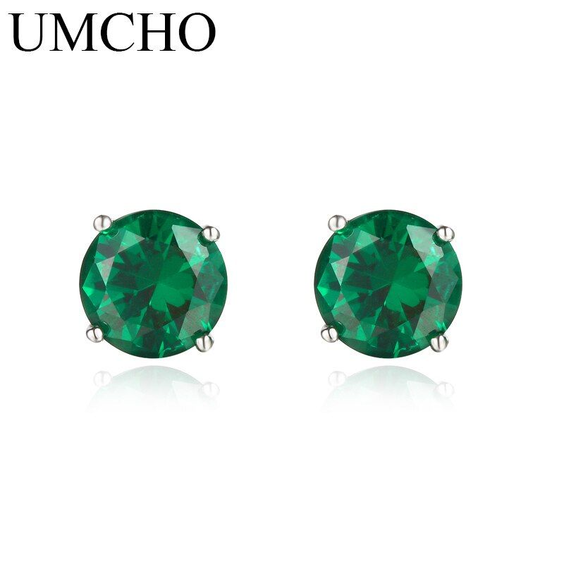 UMCHO Nano Russian Emerald  Genuine 925 Sterling Silver Stud Earrings for Women Engagement Wedding Gift Statement Earrings