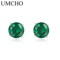 UMCHO Nano Russian Emerald  Genuine 925 Sterling Silver Stud Earrings for Women Engagement Wedding Gift Statement Earrings