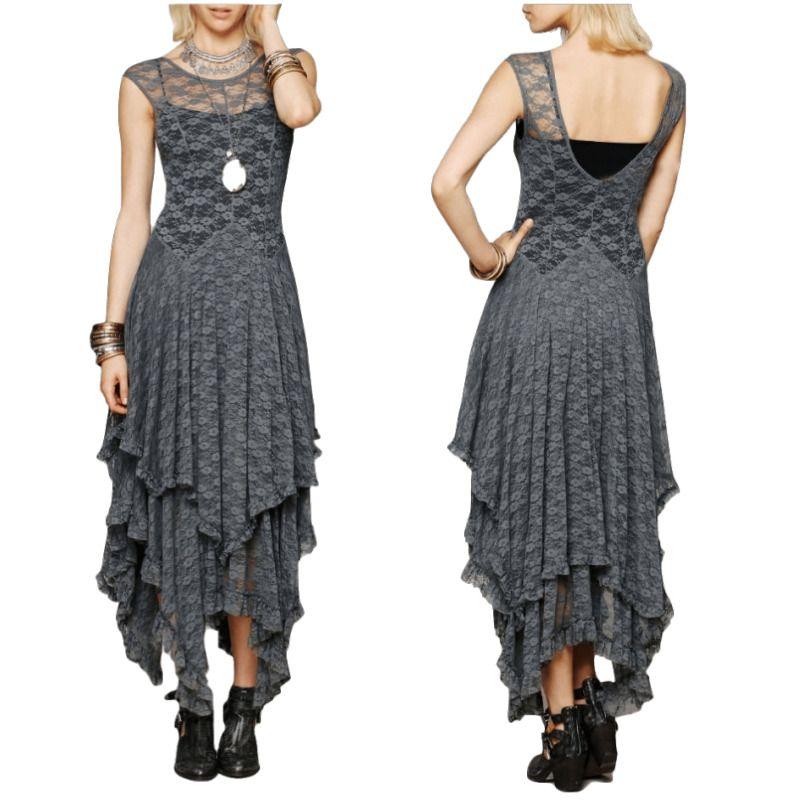 CA Mode femmes bohème gens Hippie Style irrégulière dentelle robes Sexy longue robe Double couche ébouriffée coupe robe
