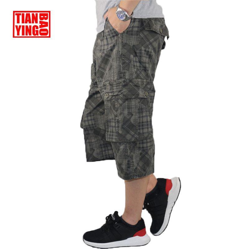 Summer Mens Cargo Pants Camouflage Baggy Casual Capri Trousers <font><b>Graffiti</b></font> Military Style Men Cotton Loose Calf Length Pants Harem