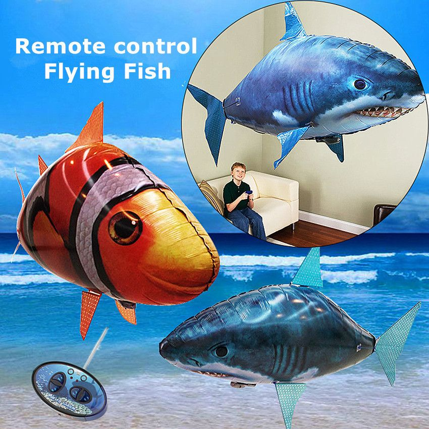 1PCS Remote Control Flying Air <font><b>Shark</b></font> Toy Clown Fish Balloons Inflatable With Helium Fish plane RC Helicopter Robot Gift For Kids