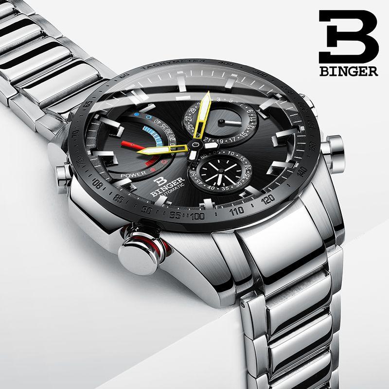 Watch Men Switzerland BINGER Luxury Brand Men Watches Automatic Mechanical Men Watch Sapphire Waterproof Energy display S10003-3