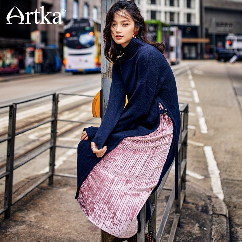 Artka 2018 New City Series Female New Winter Sweater Dress Fashion Turtleneck Pink Velvet Patchwork Mid-Calf Lady Dress JS17024