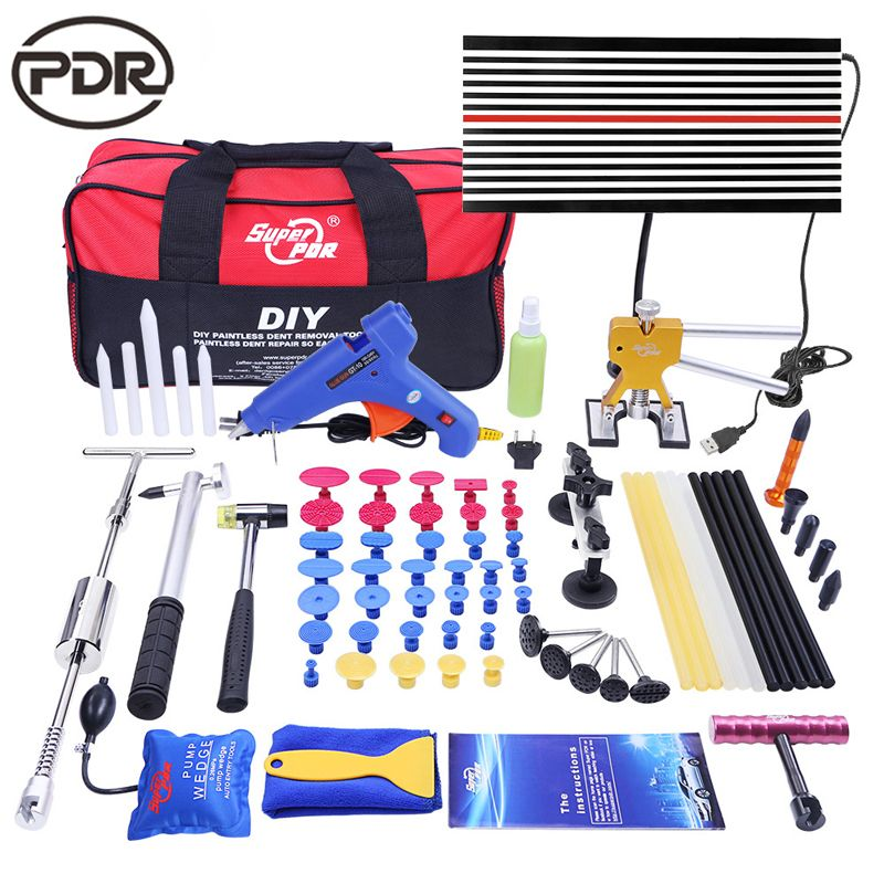 PDR Paintless Auto Dent Removal Tool Set zu Reparatur Dente Puller Slider Hammer LED Lampe Bord Pumpe Keil Paintless Werkzeug dent