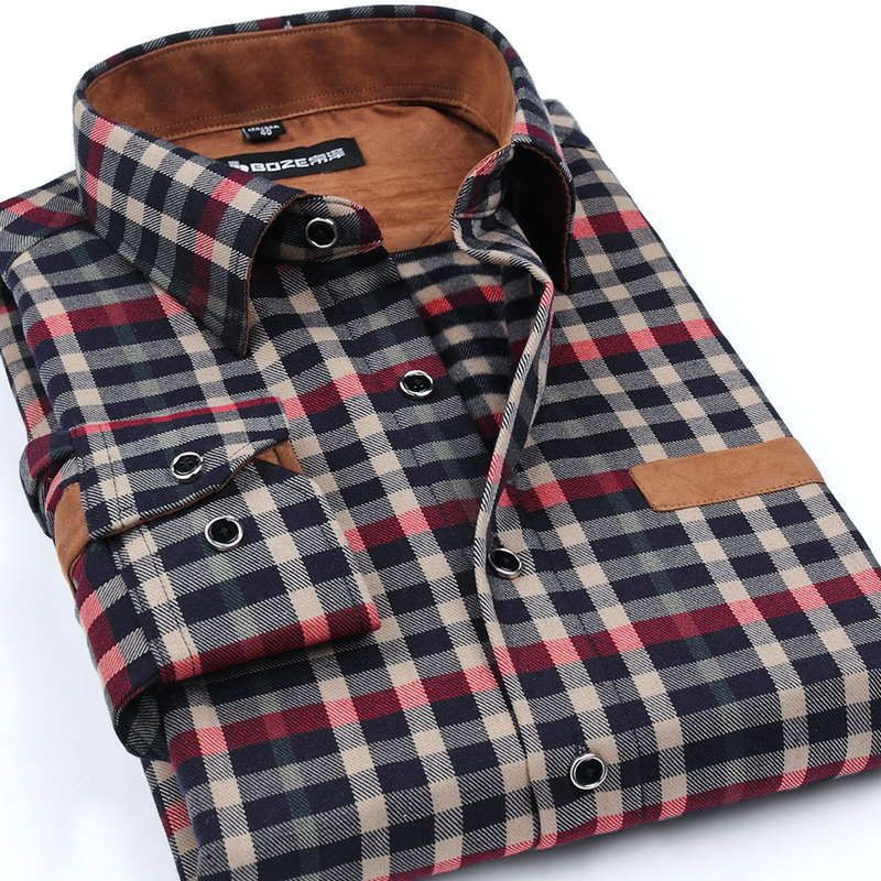 Boze Brand Clothing 2017 New Men Thickening Imitation Wool Plaid Shirt Lapel Leisure Long-sleeved Shirt Camisa Masculina S-5XL