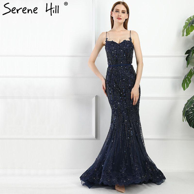 Correas de Espagueti de la vendimia de Encaje Lentejuelas Sirena Vestidos de Noche 2017 de Imagen Real Azul Marino Formal Vestido de Fiesta Robe De Soirée