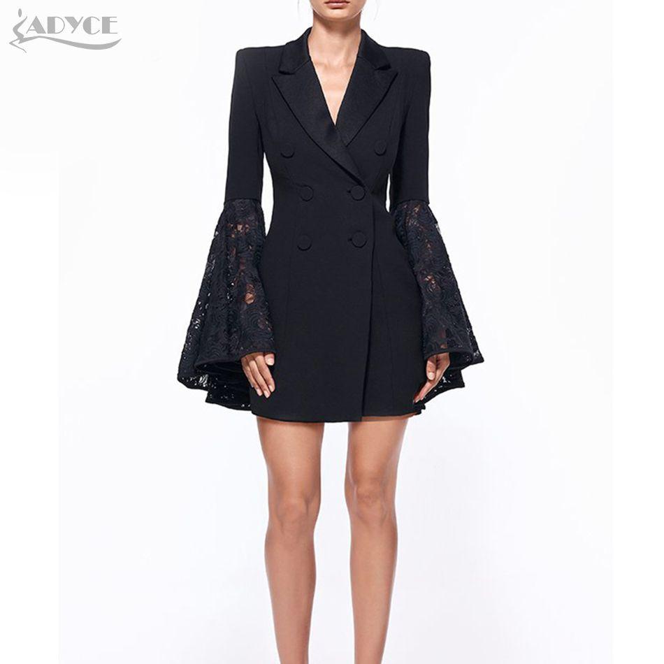 ADYCE 2018 New Autumn Blazer Women Jacket black Lace Notched jaqueta feminina Celebrity Runway Jackets Elegant Lady Blazer