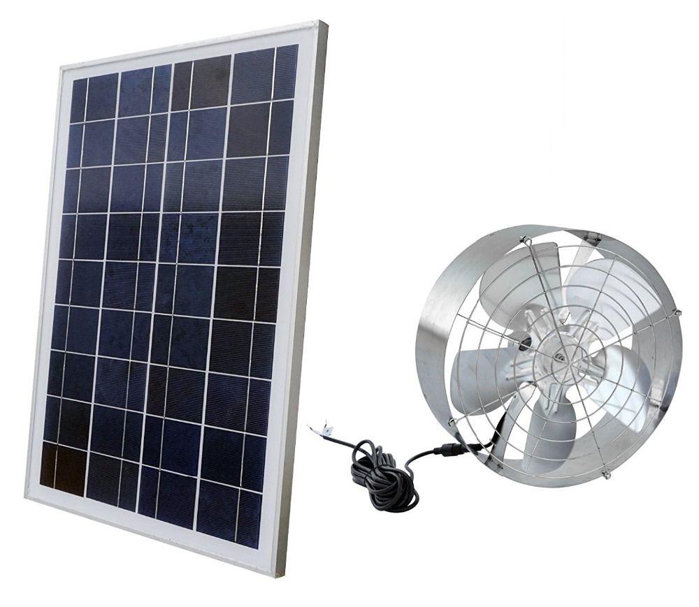 Solar Power Attic Gable Fan with 65-Watt 18-Volt Efficient Brushless DC Motor and 25-Watt 18V Solar Panel