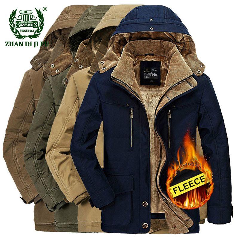 2018 Winter thicken warm men black blue hooded jacket man casual brand cotton khaki afs jeep fleece thick jacket plus size coats