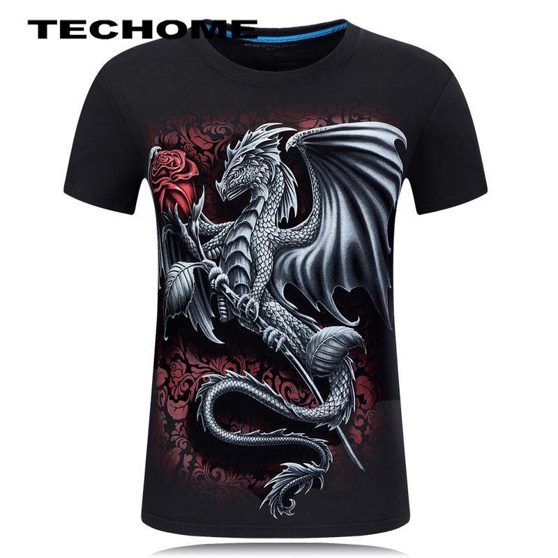 Summer 3D Men brand clothing O-Neck short sleeve animal T-shirt Dragon 3D Digital Printed T shirt Homme large size 5XL 6XL