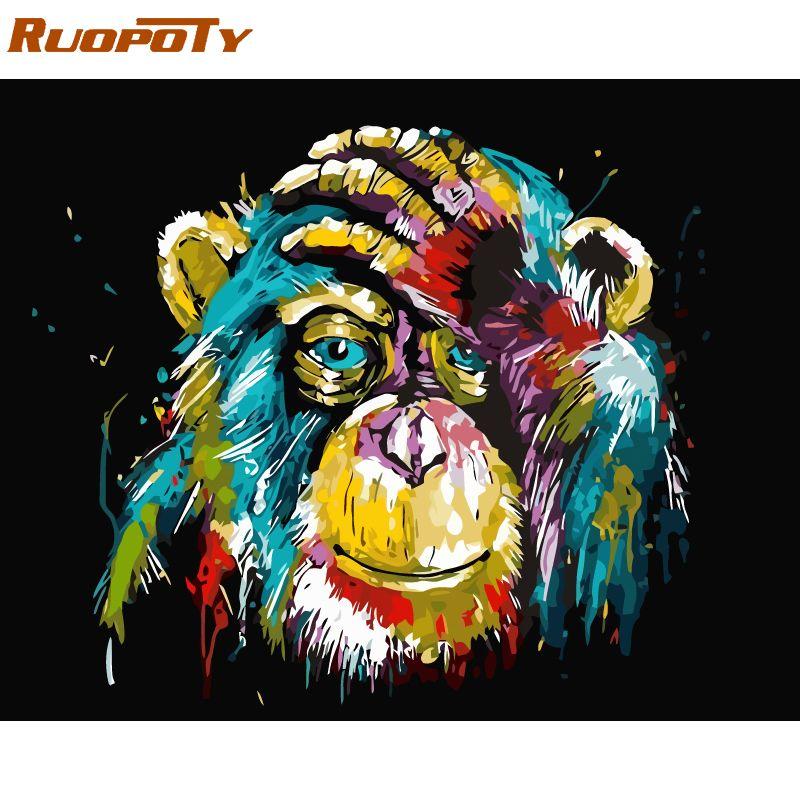 Cadre RUOPOTY animaux orang-outan bricolage peinture à l'huile par numéro calligraphie peinture acrylique sur toile pour décor maison 40x50 cm
