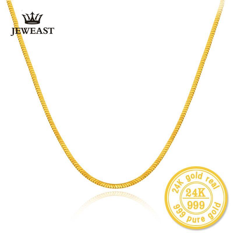 HMSS 24k Gold Reines Gelb Halskette Mode Schlange Knochen Kette Au 999 Weibliche Und Männliche Hochzeit Geschenk Exquisite Schmuck heißer Verkauf