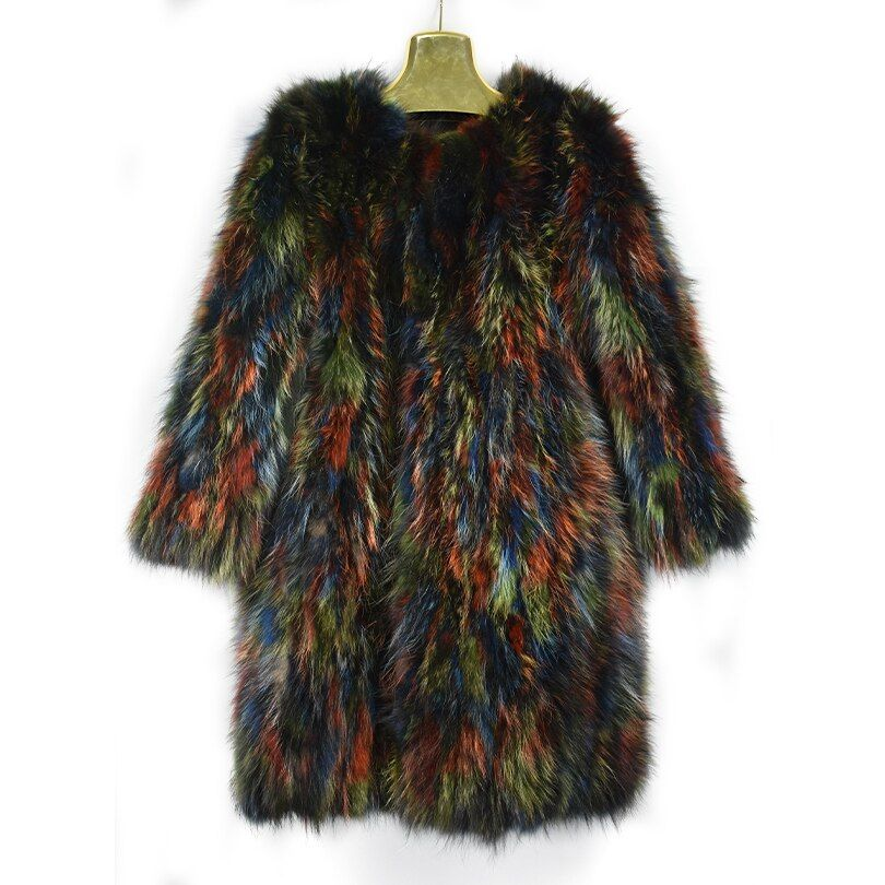 2018 new spring real racoon fur coat jacket colorful long fashion women natural fur coat thick warm fur street short style