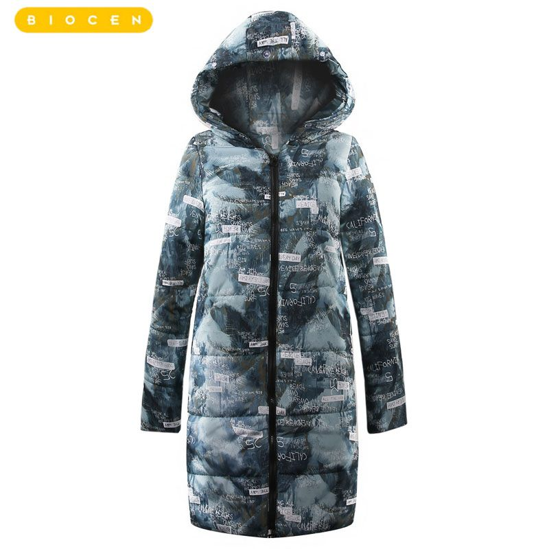 2018 women winter hooded warm coat plus size candy color cotton padded jacket female long parka Warm Cotton Outwear