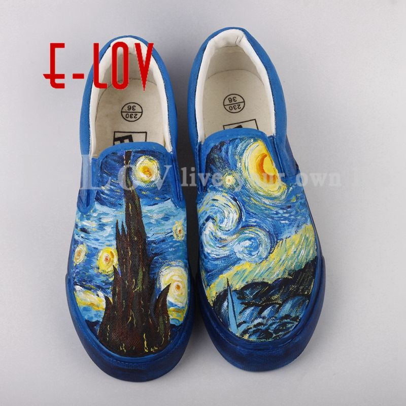 E-LOV Graffiti Hand Painted Starry Night Canvas Shoes High End Design Abstract Paintings For Women Custom Valentine's Gifts