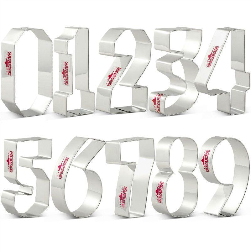 KENIAO Numéros emporte-pièce Ensemble-9 Pièce-Biscuit/Fondant/Pâtisserie/couteau à pain-acier inoxydable