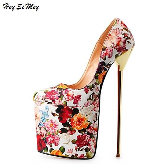 2018 New Women Shoes Drag Queen CD Size 40-50 High 22cm high-end soft Cross-Dressing Thin Metal with Round Super High Heel