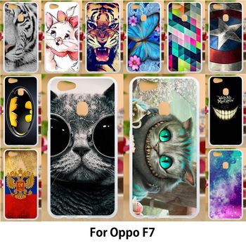 Anunob Case For Oppo F7 Cases TPU Soft Silicon Cover For OPPO F7 Covers Painting Cute Cat Patterned